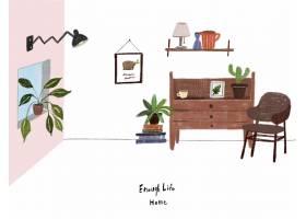 清新手绘生活的家主题插画设计
