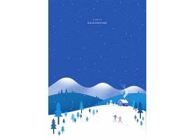 创意冬季下雪手绘插画唯美意境背景设计