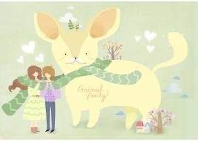 创意人与宠物主题手绘少女插画设计
