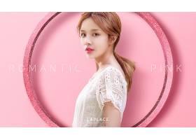 粉色美丽女性模特容颜海报图片