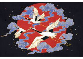 中式水墨白鹤仙鹤荷花中式花纹底纹吉祥纹理