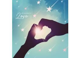 手部爱心与夕阳素材