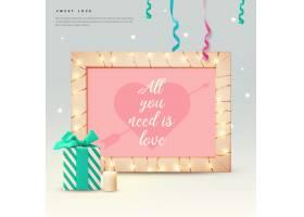 情人节相框礼物蜡烛爱心素材
