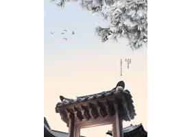 时尚大气韩式传统建筑背景海报设计