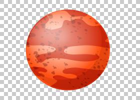 行星火星,手绘红色行星PNG剪贴画水彩画,杂项,橙色,球体,手绘,太
