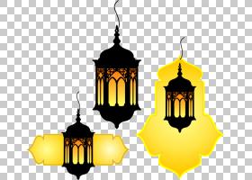 古兰经伊斯兰教穆斯林,手绘复古灯,三个黑色灯笼PNG剪贴画水彩画,