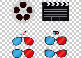 电影院电影Clapperboard,电影院3D创意装饰效果PNG剪贴画电视,影