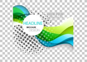 动态时尚曲线线条背景材料,标题宣传册设计徽标与蓝色背景PNG剪贴