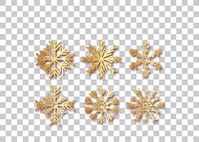 耳环冰晶雪花,冬季金色雪花PNG剪贴画模板,冬季,金色框架,雪花,生