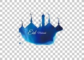 斋月Eid穆巴拉克清真寺,蓝色建筑Corban水彩,Eid Mubarak图形PNG