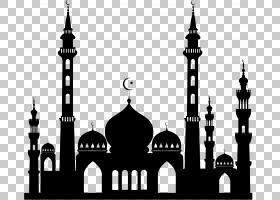 苏丹艾哈迈德清真寺伊斯兰教剪影,伊斯兰教PN PNG剪贴画对称性,单