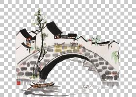 水墨画纸桥,桥PNG剪贴画角度,摄影,房屋,中国画,桥梁,金门大桥,绘