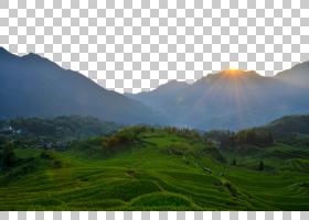 山风景绿色,在稻田PNG剪贴画的日出橙色,海报,景观,自然,电脑壁纸