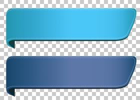 蓝色透明横幅集,两个蓝绿色和灰色肩带PNG剪贴画角,矩形,丝带和横