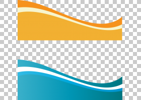 欧几里得,动态波,两个蓝绿色和黄色波浪艺术品PNG剪贴画模板,蓝色