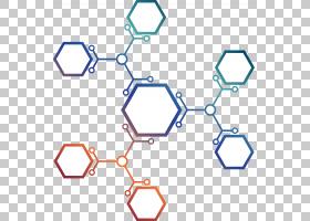 欧几里得分子六角形和六角形分子结构,绿色,蓝色和白色图PNG剪贴