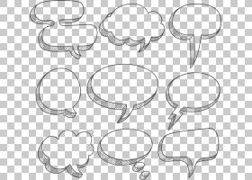 语音气球文本框对话框,白色简单云对话框边框纹理,各种形状的消息