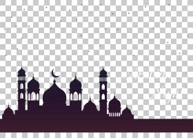斋月月亮伊斯兰建筑清真寺开斋节,Fitr,天空清真寺,圆顶与阿拉伯
