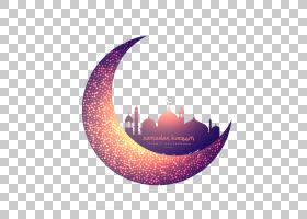 伊斯兰教清真寺穆斯林月亮斋月,创意月亮和发光的清真寺,新月PNG