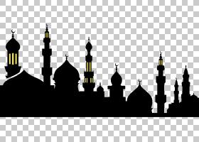 斋月活动开斋节,Fitr伊斯兰教开斋节穆巴拉克,斋月,清真寺剪影PNG