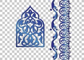 伊斯兰的几何图案,蓝色伊斯兰传统图案装饰,蓝色华丽PNG剪贴画蓝