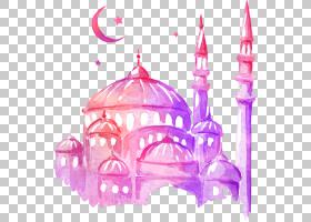 斋月绘图清真寺水彩画,梦幻多彩城堡,泰姬陵水彩画PNG剪贴画紫色,