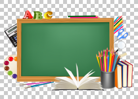 学生委员会教育学区,绿色学校董事会和装饰,黑板用笔PNG clipart