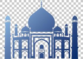 清真寺清真寺伊斯兰建筑,清真寺剪影,蓝色清真寺PNG剪贴画建筑,对