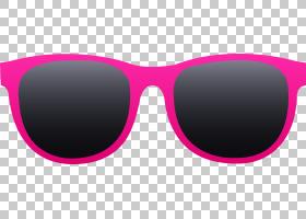 太阳镜雷朋徒步旅行者,发光眼镜的PNG剪贴画紫色,紫罗兰色,洋红色