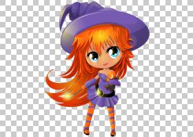 巫术万圣节,可爱的巫婆透明,橙色头发的女巫角色PNG剪贴画万圣节