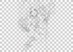 黑白Mangaka神仙的线艺术剪影,女孩艺术品PNG clipart白色,时尚女