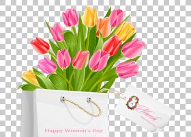国际妇女节公众假期3月8日女人,快乐妇女节礼品袋与郁金香,一束鲜