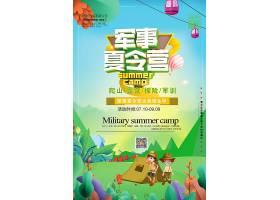 清新插画风儿童暑假夏令营开班海报