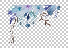水彩画花卉,水彩花卉,蓝色和紫色的花朵PNG剪贴画蓝色,水彩叶子,