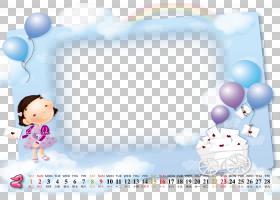 文本卡通,日历模板PNG剪贴画紫色,蓝色,儿童,摄影,皮革,气球,相册