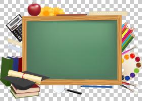 学校桌面,黑板边界,绿色黑板例证PNG clipart卡通,封装PostScript