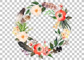 花花圈水彩绘画花环,精致的花环,多彩多姿的花卉数字设计框架PNG