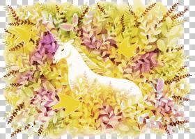 独角兽童话水彩画,独角兽PNG剪贴画插花,食品,生日快乐矢量图像,