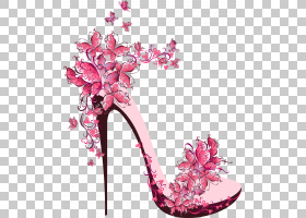 高跟鞋鞋子股票摄影,美丽的高跟鞋,粉红色花卉高跟鞋PNG剪贴画花