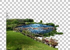 湖草坪,湖PNG剪贴画风景,游泳池,草,封装PostScript,池塘,花园,卡