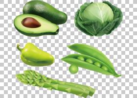 牛油果蔬菜Auglis,牛油果绿豌豆,卷心菜,芦笋,青椒PNG剪贴画天然