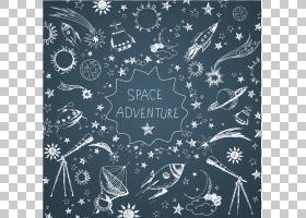 绘图行星图,手,绘制航空材料,太空冒险文本覆盖PNG剪贴画蓝色,文