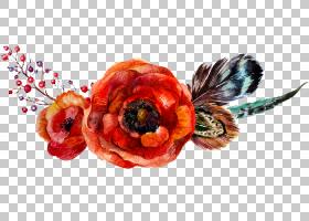 罂粟花朵花束,水彩花卉,红玫瑰图PNG剪贴画水彩画,水彩叶子,橙色,