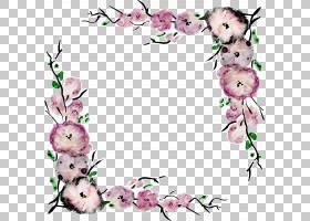 花紫色最佳边界欧几里得,手绘花边框,动画粉红和白色花PNG剪贴画