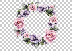 花花圈婚礼邀请花环水彩画,手,彩绘花环,紫色和粉红色的花环PNG剪