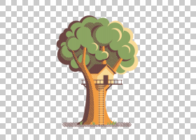 数字式插图图形设计插图,复古树屋免费拉材料PNG剪贴画免费Logo设