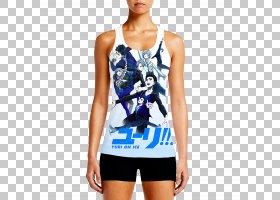 Yuri动漫Nendoroid漫画T恤,动漫PNG剪贴画T恤,蓝色,白色,漫画,卡
