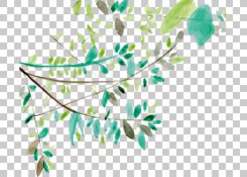 叶水彩画欧几里德图标,水彩画绿色树枝,绿色和蓝色植物画PNG剪贴