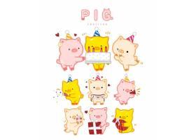 手绘创意卡通猪形象装饰图案设计