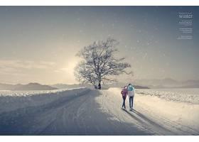 创意冬季冰雪自然风景主题背景设计